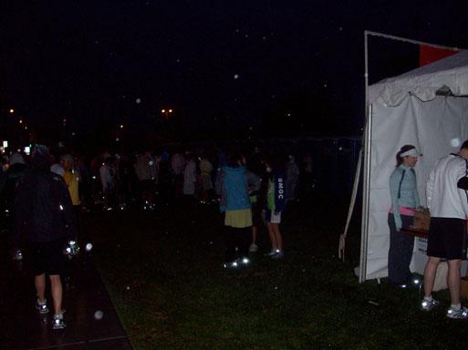 Pasadena Marathon tents in the rain