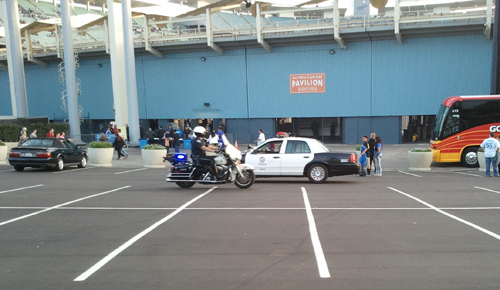 police motorcycle in dodger parking lot