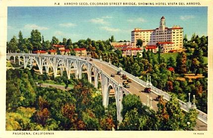 vintage suicide bridge pasadena postcard